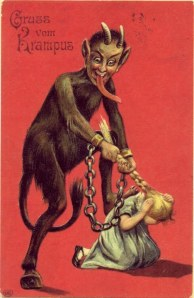 Lord Krampus punishes a naughty girl by pulling her hair.