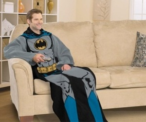 This man is surrounded by True Love. True Love looks like batman for this man.